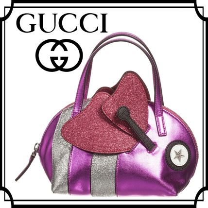 16-17AW GUCCI☆キッズ女の子 メタリックピンク beeバック20cm