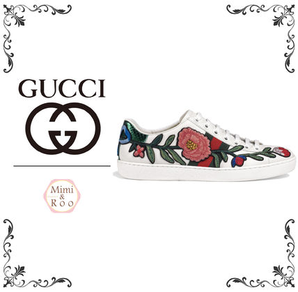 Cute GUCCI adults * floral designs popular sneakers