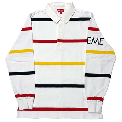 Supreme FW16 Striped Rugby 白 (Supremeステッカー付き)