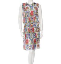 【 CHANEL 】 FLORAL PRINT SILK DRESS FR38 M マルチ 9号