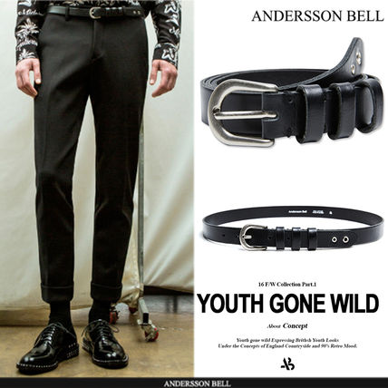 16 FW ANDERSSON BELL EYELET LEATHER BELT - BLACK