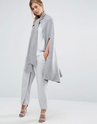 Parallel Lines Knitted Cape With Tie Neck