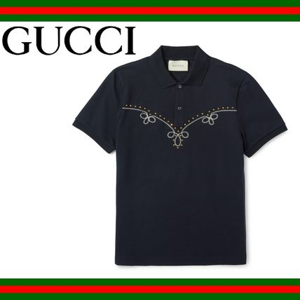 GUCCI (グッチ) Studded Embroidered Polo Shirt ポロシャツ