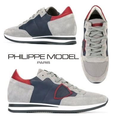 【16AW】Philippe Model レースアップスニーカー Blue and Grey