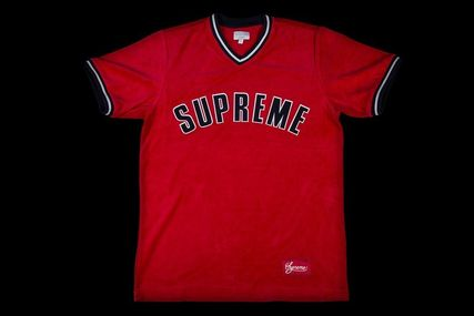 FW16 SUPREME VELOUR BASEBALL TOP RED S-XL レッド 送料無料