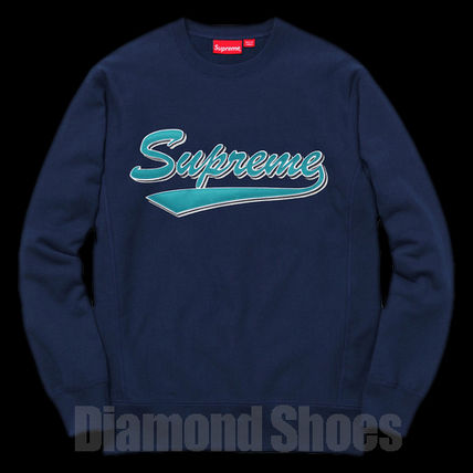 FW16 SUPREME BRUSH SCRIPT CREWNECK NAVY ネイビー 送料無料