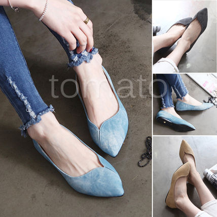 Denim style pointed toe flat