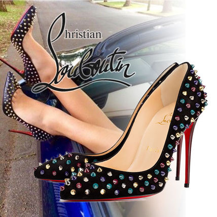 Christian Louboutin Follies Spikes ベルベット パンプス