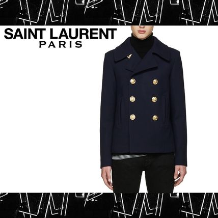Saint Laurent (サンローラン) Navy Double Breasted Pea Coat
