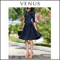 Venus*PLEATED FIT & FLARE DRESS