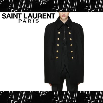 Saint Laurent (サンローラン) Black Wool Officer Cape ケープ