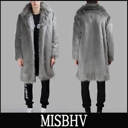 "16-17AW 新作 ""MISBHV"" FAUX ファーコート/グレー"