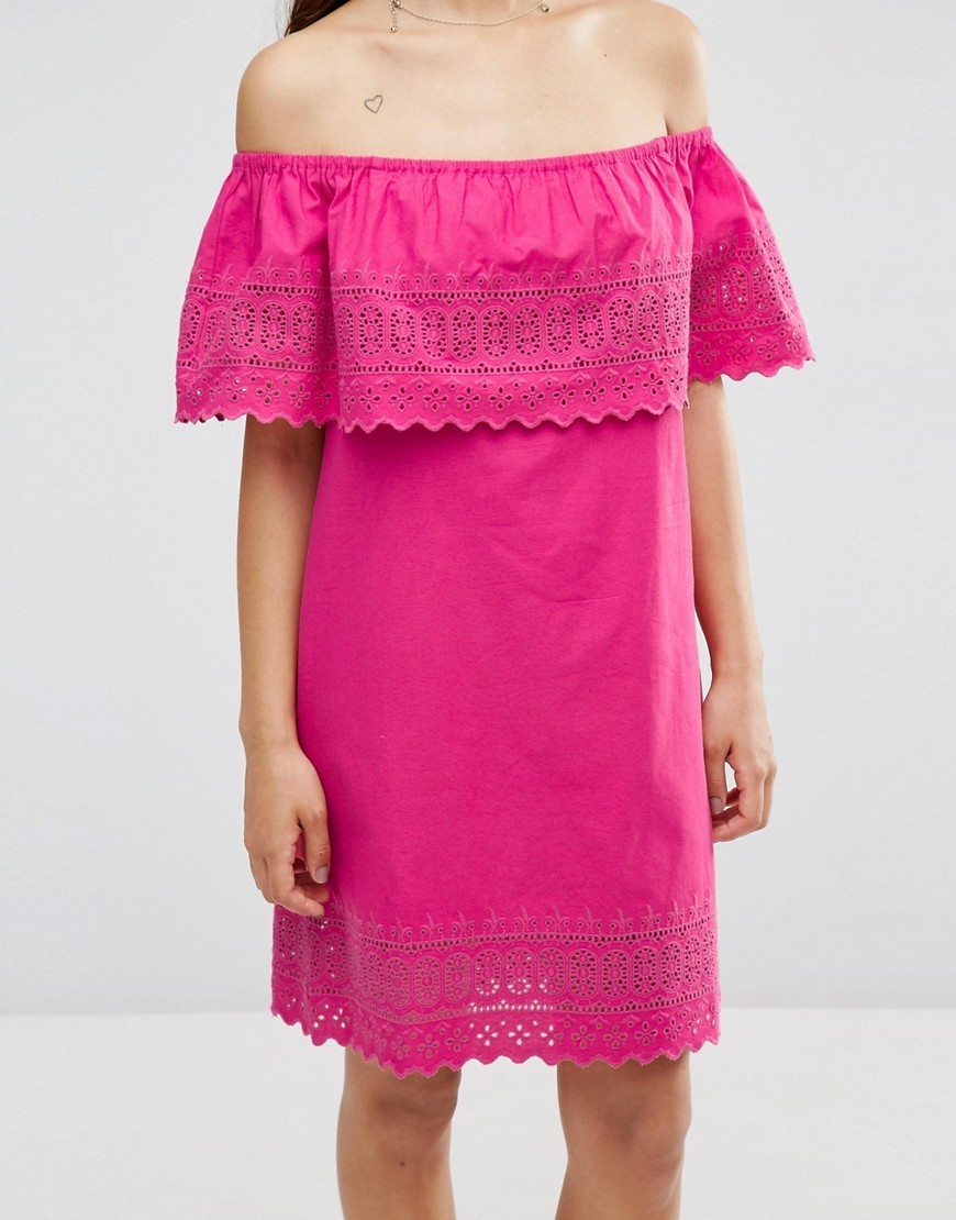 送料込み ASOS Embroidered Off Shoulder Sundress