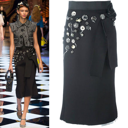 16-17AW DG655 LOOK31 EMBELLISHED STRETCH CADY SKIRT