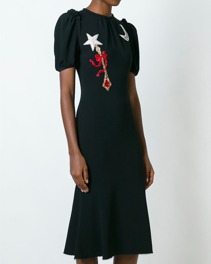 16-17AW DG661 MOON AND WAND APPLIQUE MIDI DRESS