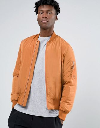 ASOS Bomber Jacket in Burnt Orange with Contrast Lining