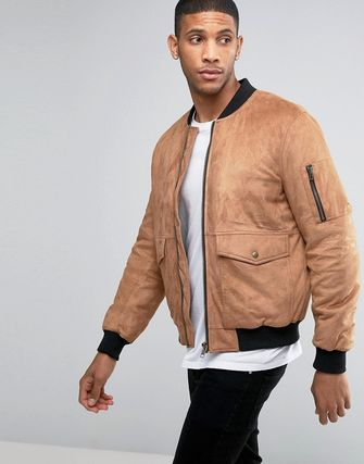 ASOS Faux Suede Bomber with Patch Pocket In Tan