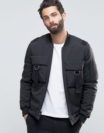 ASOS Bomber Jacket With Chest Pockets and Strap Detail/Black