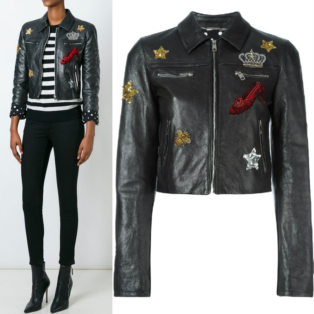 16-17AW DG665 EMBELLISHED CROPPED BIKER JACKET