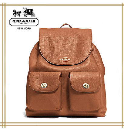COACH★ BILLIE BACKPACK IN PEBBLE LEATHER F37410 国内発送!