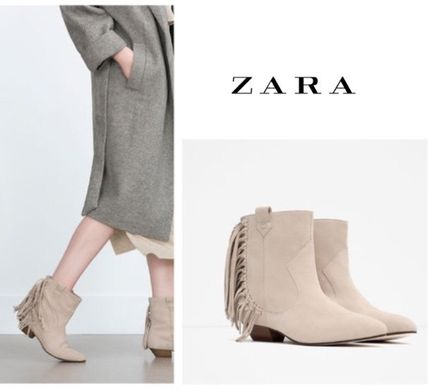 Leather final sale ZARA fringe leather ankle boots