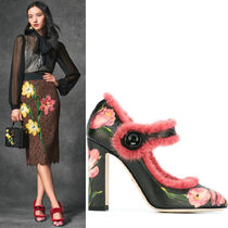 16-17AW DG682 TULIP PRINT 'VALLY' PUMPS WITH MINK FUR