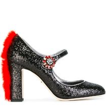16-17AW DG683 GLITTER 'VALLY' PUMPS WITH MINK FUR