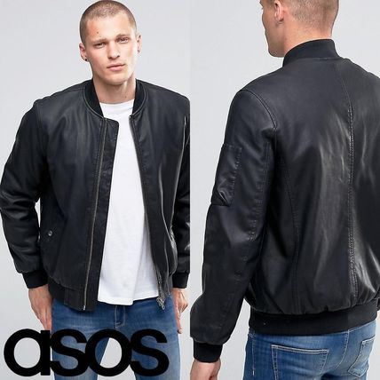 ASOS Faux Leather Bomber Jacket With MA1 Pocket In Black