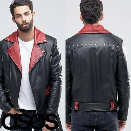 ASOS Belted Leather Biker In Black With Red Lapel Detail