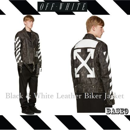 2016FW新作OFF-WHITE☆ LEATHER Biker Jacket 【関税送料込み】