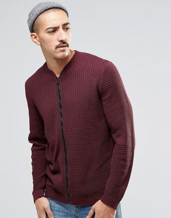 ASOS Knitted Cable Bomber in Burgundy