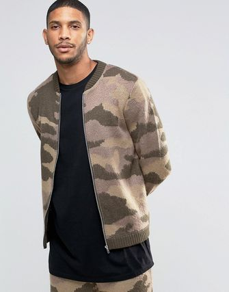 ASOS Knitted Camo Bomber Jacket in Fluffy Yarn