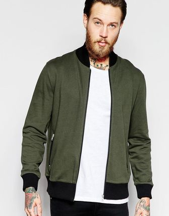 ASOS Jersey Bomber Jacket With Contrast Ribs In Khaki