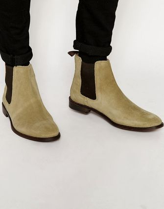 ASOS Chelsea Boots in Stone Suede With Back Pull