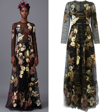 16-17AW V445 LOOK77 'KIMONO FLOWERS' EMBELLISHED TULLE GOWN