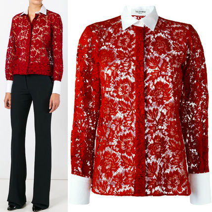 16-17AW V450 FLORAL LACE BLOUSE