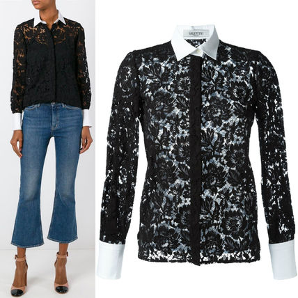 16-17AW V451 FLORAL LACE BLOUSE