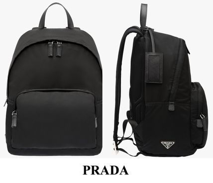 PRADA Saffiano calf leather trim & handles backpack