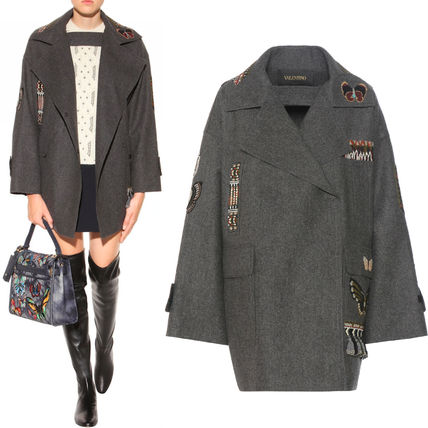 16-17AW V469 EMBELLISHED VIRGIN WOOL COAT