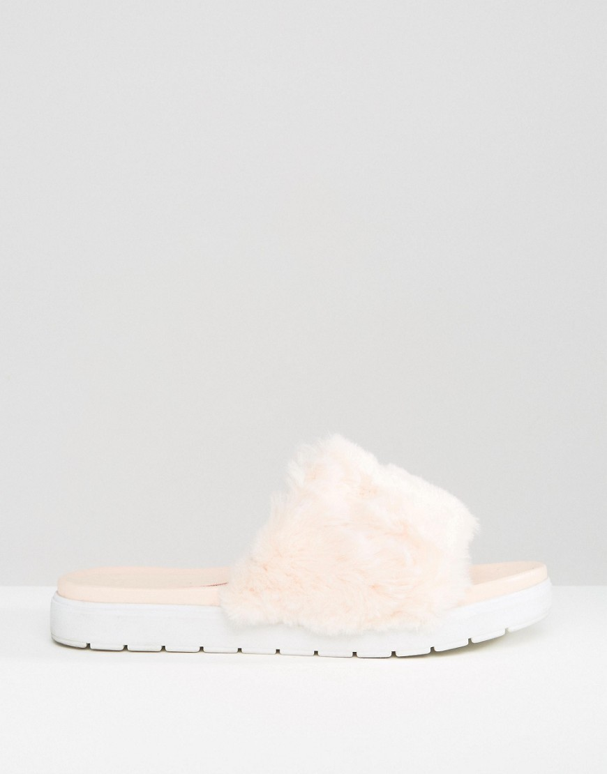 送料込 ASOS FLUFFIE Faux Fur Sliders