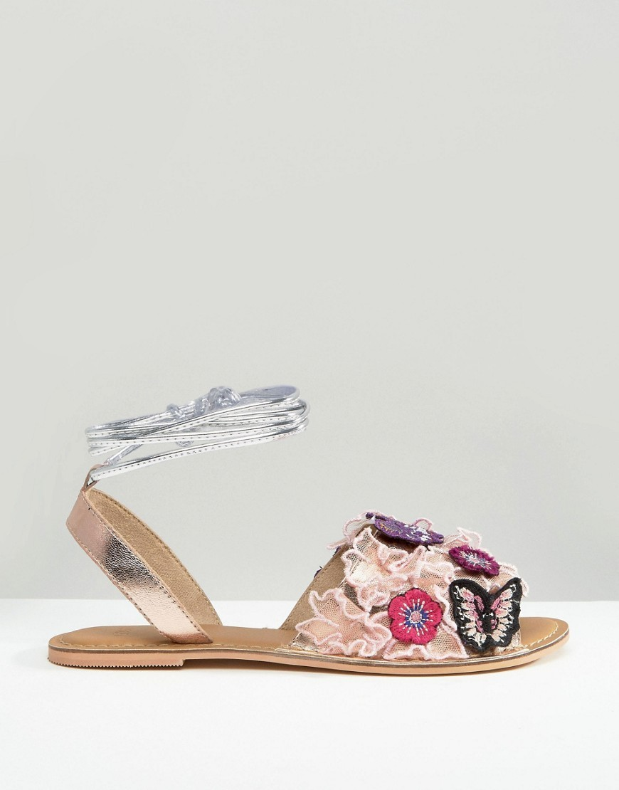 送料込 ASOS FRACTION Embroidered Flat Sandals