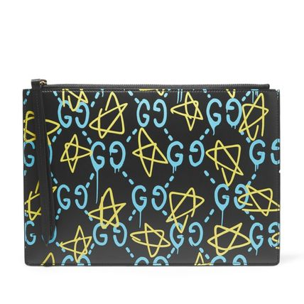 GUCCI leather spray paint Pouch GUCCI GHOST
