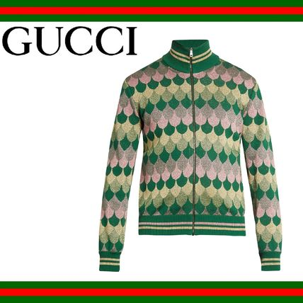 GUCCI (グッチ) Zip-through rol neck wave jacquard sweater