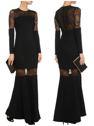 """MIKAEL AGHAL""Lace-paneled strech long dress"