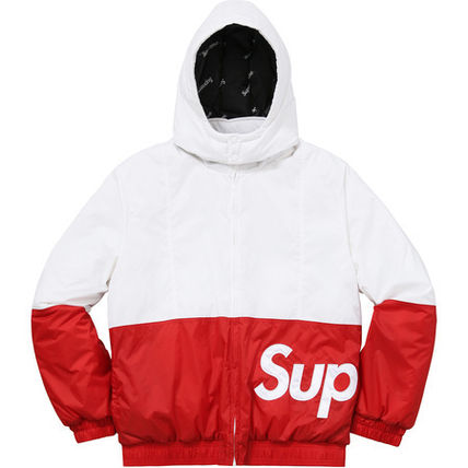 16AW 白 赤 Supreme Sideline Side Logo Parka White / Red
