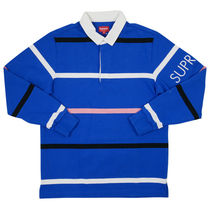 Supreme FW16 Striped Rugby 青 Size SMALL (ステッカー付き)
