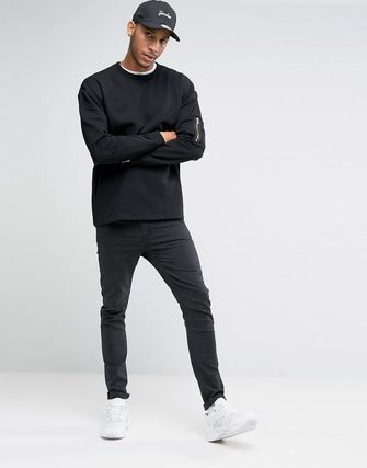 ASOS Oversized Sweatshirt With MA1 Pocket In Black