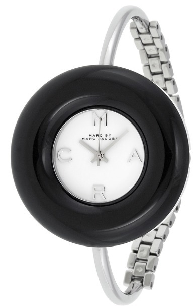 送料込☆Donut White Dial Black Stainless Steel Bangle Watch