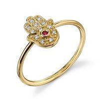 シドニー・エヴァン Sydney Evan ★ Mini Hamsa Ring with Ruby