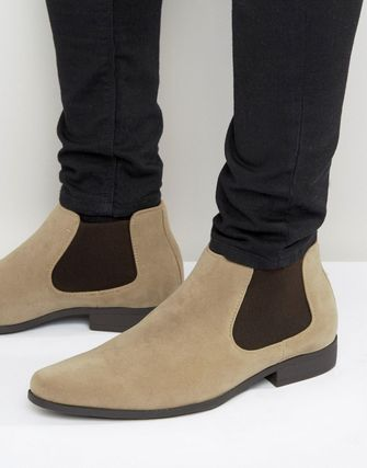 ASOS Chelsea Boots in Stone Faux Suede